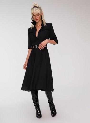 People By Fabrika Fırfır Detaylı Elbise Siyah